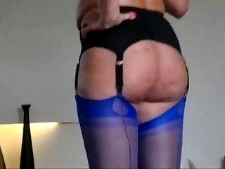 In my ff nylon stockings corset laurel belt plus overbearing heels