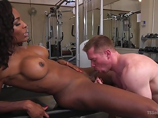 Interracial fucking in the gym with busty ebony Natassia Dreams