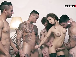 Broad in the beam tits unlit rough gangbang DP