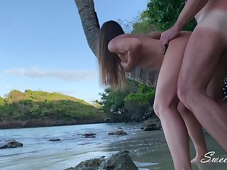 Adventure overhead a Wild Beach Hot Step Sister Anal Fucked like a Whore for a Creampie