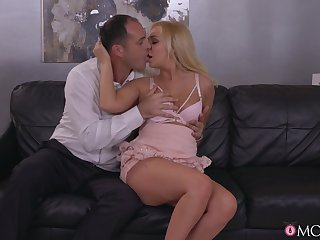 Blonde beauty strips for the cock after the man seduces her