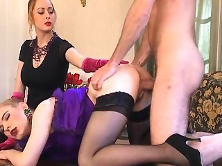 Trio give a mart nurse in white stockings
