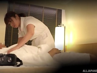 Spy cam catches a Japanese nurse having making love with a patient