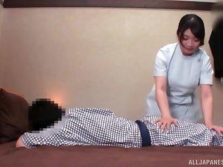 Handsome Japanese girlfriend enjoys pleasuring her man's cravings