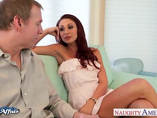 Sexy buxom babe Monique Alexander pedicel to give awesome blowjob