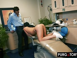 Smoking hot blackness with big tits is having hardcore sex with her handsome dentist, in his office