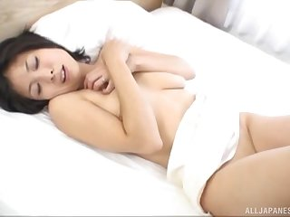Nude Japanese hottie gets a double dose of cock alongside full trio