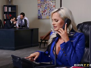 Excellent office secretary goes full mode with the boss and one of his partners