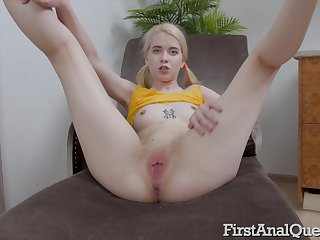 Full anal boom after the mini blonde sucks the hungry dong