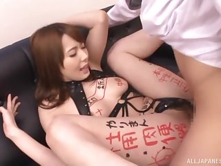 Nasty slut Yui Hatano drops on her knees to have sex concerning two guys