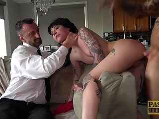 Tattooed babe upon fucked more brutal scenes for maledom