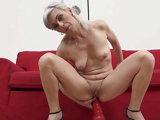 Small tits granny Kathy White gets fucked in all directions all holes by a BBC
