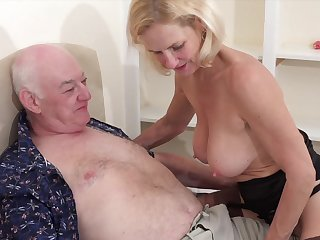Older man with a stiff learn of fucks his torrid tow-haired wife Molly Macaras