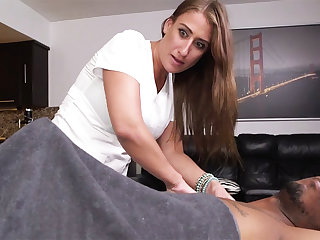 Curvy brunette masseuse gets wrecked by a big black dick