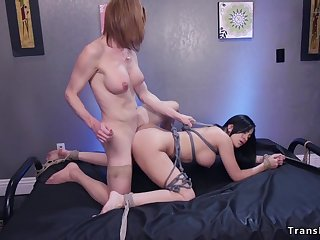 Large-Breasted tranny bangs full-bosomed in bondage