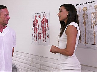 Brunette gal seduced by a manual therapist