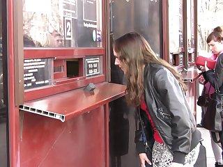 Brunette amateur strips in front of a stranger for money