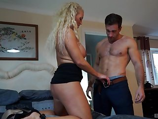 Curly haired mature blonde Rebecca Jane Smythe bends over for a dick