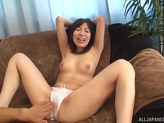 Slender amateur Japanese Ueno Naho striped and toyed with