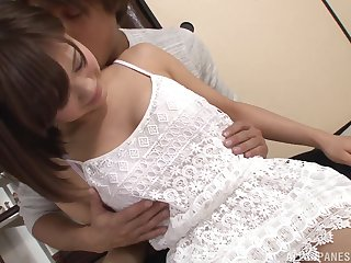 Short haired brunette teen Akiyoshi Kanon rides and sucks cock
