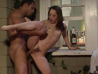 Latina bombshell with small tits Kristina Rose rides cock with her ass