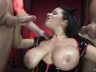 Alexis Silver has her huge fake tits covered with cum in a threesome