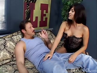 Busty brunette Latina babe gets fucked hard and her face cum covered