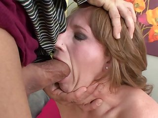 Short haired curvy MILF babe deep throats and rides a huge cock