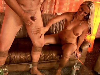 Julia Pink fucks a hard cock and watches him cum while jerking off