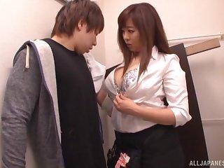 Hardcore Japanese office sex with a busty brunette MILF secretary