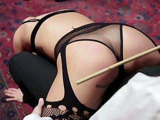 Hardcore pair bondage and wild masturbation with lewd Aiden Starr