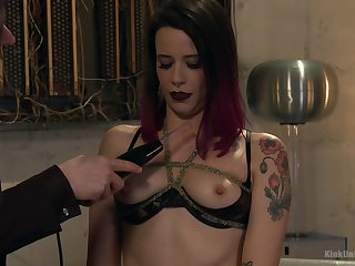 Tattooed cutie Freya French strips and shows off her body
