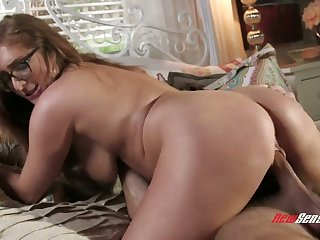 One eyed beauty with big boobies Skylar Snow is happy to ride long fat cock