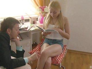 Blonde teen in shorts Bella swallows cum monitor fucking hard