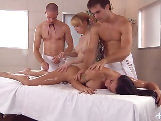 Yoke masseurs fuck killing hot busty chicks on put emphasize knead provisions and cum on their faces