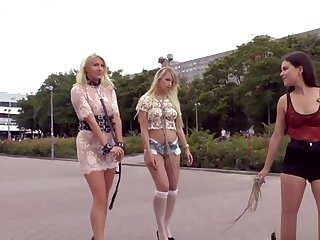 Abstruse mistress disgraces two blondes in public
