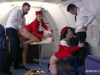 Alexis Crystal and Misha Cranky are VIP stewardesses who were hired to do everything to please dudes
