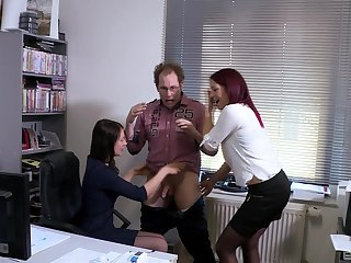 Natalie Hot enjoys a threesome not far from the office with horny boss