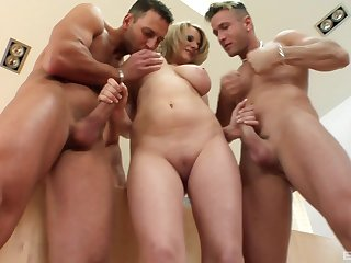 Stunning blonde Tammy likes just about suck three dicks at the same time