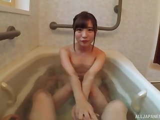 Hardcore sloppy blowjob ends with mouth full of cum for Sazanami Aya