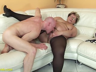 hairy 78 years ancient bbw granny in sexy stoxkings enjoys a rough shacking up lesson