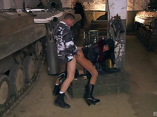 Army man fucks tight bungle almost both her holes