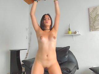 Colombian Minx With Big Boobs Takes Off Her Black Bikini - webcam