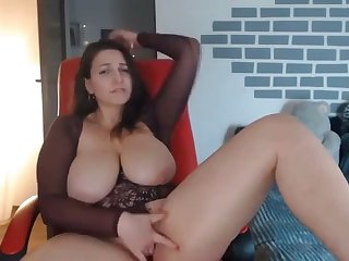 thick milf fingerfucking her tight pussy more than webcam