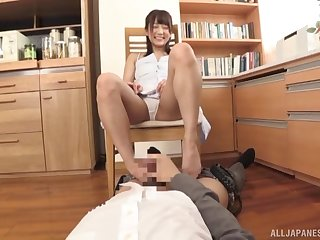 Japanese office babe deals her boss's dig up all over a perfect POV