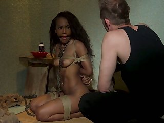 Submissive svelte starless nympho Demi Sutra provides fag end with a blowjob
