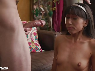 After fingering together with blowing Judy Jolie is brim about to jump on hard penis