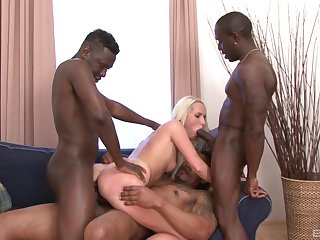 Off colour blonde babe tries firm coition with three black thugs