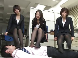 Japanese brunette Ryu enjoys staggering group fuck about the assignation