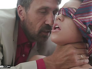 Hot and sexy Latina pamper Alina Lopez gets blindfolded and fucked doggy